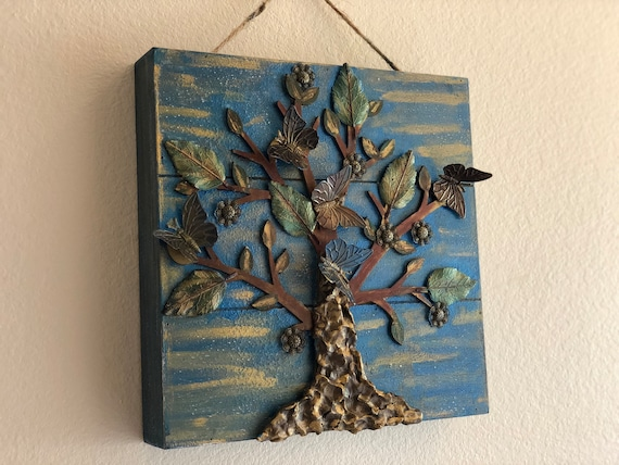 Rustic Wooden Wall Art - Hangable Artwork With Metallic Enchanted Tree  Art And Butterfly Accents by The Arabesque®