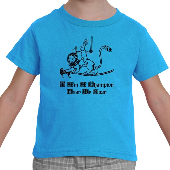 Champion Medieval Bunny Knight and Lion Steed Shirt For Kids By The Arabesque