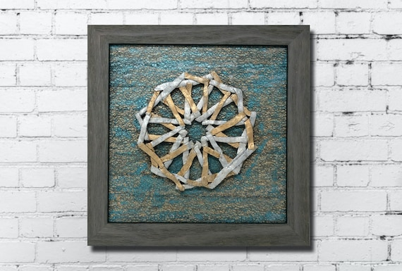 The Arabesque® Modern-Look Wall Art With Metallic Polymer Clay Sculpted Medieval Islamic Geometric Arabesque Pattern; Medieval Islamic Art