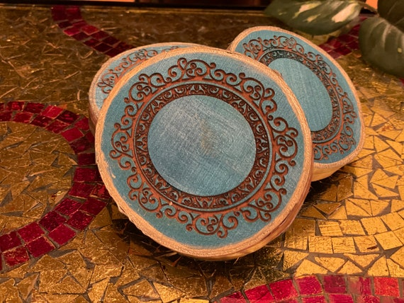 The Arabesque® Natural Wood Coaster Set (of 4) with Laser Engraved Medieval Style Arabesque Pattern (Ask about Wholesale Pricing)