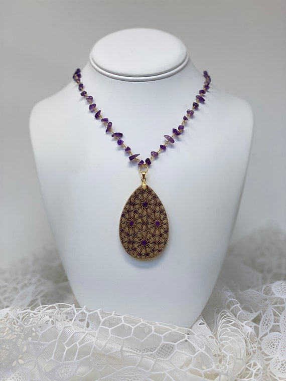 """The Arabesque® Medieval Geometric Pattern Wooden Teardrop Pendant with Amethyst Nugget  24k Goldplated Rosary Necklace (30"""" can be adjusted)"""