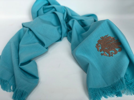 The Arabesque's Fine Linen Sky-blue Bunny Scarf. All-Year Stylish Handmade Scarf With Embroidered Medieval Arabesque Hare
