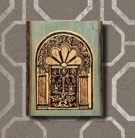 The Arabesque® Wooden Wall Art with Woodburned Mihrab Design From the Medieval 9th Century Great Mosque of Kairouan in Tunisia