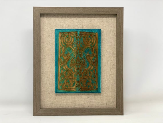 """The Arabesque® 5""""  x 7"""" Wooden Wall Art - Medieval Fatimid Horse Arabesque Laser Etched Wood Plaque and Framed  in 8 x 10 inch Wallhanging"""