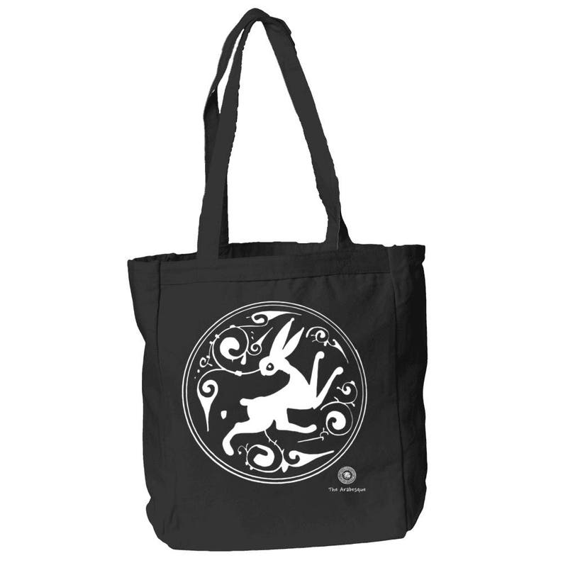 Medieval Art 12 oz Canvas Book Tote Bag By The Arabesque Power To The Bunny