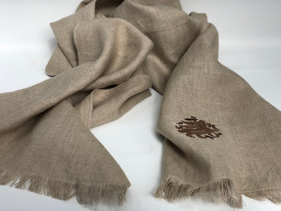 The Arabesque's Fine Linen Bunny Scarf. All-Year Stylish Handmade Scarf With Embroidered Medieval Hare