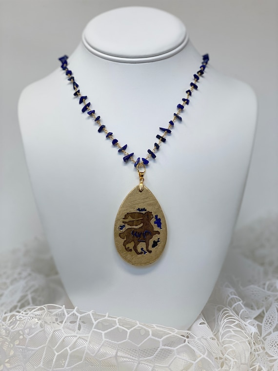 The Arabesque® Wooden Engraved Medieval Bunny Teardrop Pendant with Lapis Lazuli Nugget Bead 24k Gold Plated Rosary Necklace