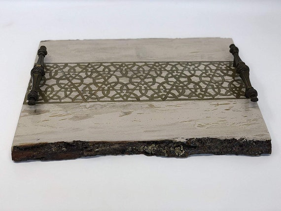 The Arabesque® Exquisite Rustic Handmade And Handcrafted Decorative Tray With Painted Medieval Umayyad Geometric Arabesque Design