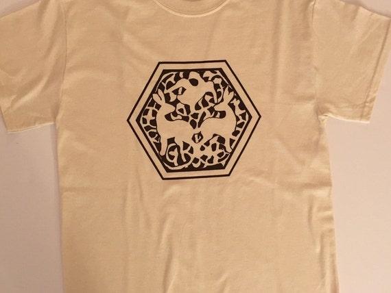 Invoke Collection - 11th Century Fatimid Arabesque Design Screenprinted Beige (Natural) T-Shirt