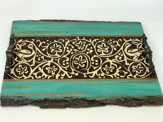 Decorative Tray With Medieval Abbasid Inspired Arabesque Pattern; Coffee Table Tray; Islamic art; Historical Art; Vines and Scroll Design
