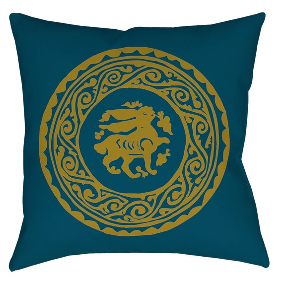 The Arabesque Bunny 18 x 18 Inch Pillow In Teal And Gold Print