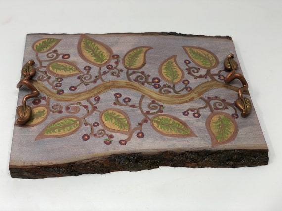 The Hidden Garden Scroll and Leaf Handmade and Handcrafted Woodburned Decor Tray For Coffee Tables Or Ottomans - Elegant Home Decor Design