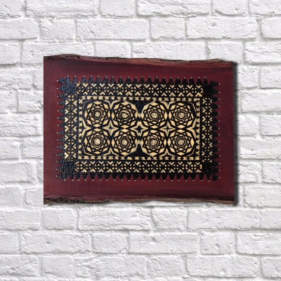 The Arabesque® Handmade and Handcrafted Wooden Decorative Wall Hanging With A Historical Nasrid Arabesque Pattern From Medieval Spain