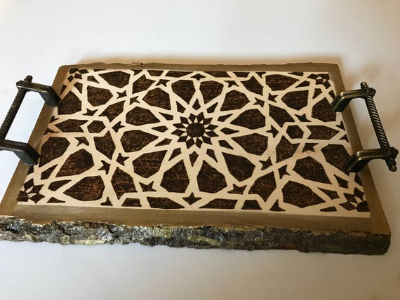 Decorative tray; Mamluk art; Syrian art; Medieval Islamic art; Geometric patterns; Wooden home decor; wooden home accents; coffee table;