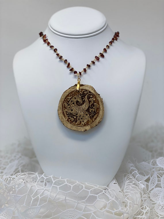 """The Arabesque® Engraved Medieval Pegasus Horse Arabesque Natural Wood Pendant with Garnet Stone and 24k Gold Plated 24"""" Rosary Chain"""