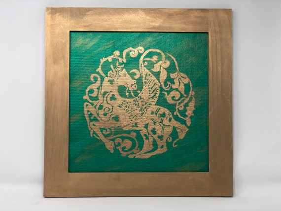 """The Arabesque® Medieval Seljuk Historical Persian Winged-Horse Pegasus Wallhanging Decor. Acrylic and Gold Leaf Paint 12"""" x 12"""" Artwork"""