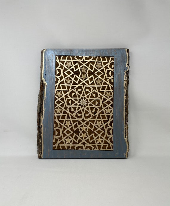 The Arabesque Medieval Islamic Art Wooden Wall Hanging With 15th Century Egyptian Mamluk Geometric Arabesque Pattern Woodburning Design