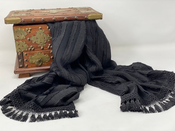 The Arabesque® Black Handmade Silky Sheer Crepe Fabric Striped Scarf With Elegant Tassel Lace Trim - Gorgeous Day and Evening Wear Accessory