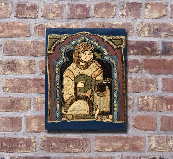 The Arabesque® Wooden Wall Hanging with Medieval Norman Sicilian Musician & Lute Player Inspired by Cappella Palatina Paintings of Roger II