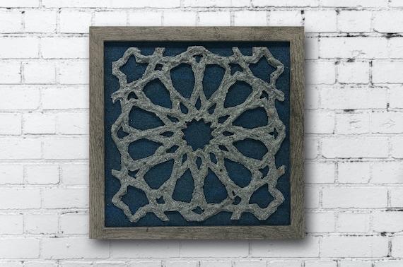 The Arabesque® Wall Decor Art - Hangable Shadow Box with Faux-Stone Look Islamic Geometric Arabesque Pattern. Medieval Islamic Homedeor Art