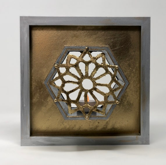 The Arabesque® Wooden Wall Art Lamp With Painted Polymer Clay Medieval Islamic Geometric Arabesque Pattern. Home Decor; Medieval Islamic Art