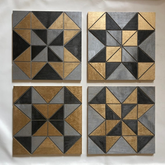The Arabesque® Wooden and Modern Geometric Square Tile Wall Hanging (Set of 4). Each Square 11.5 x 11.5 inches