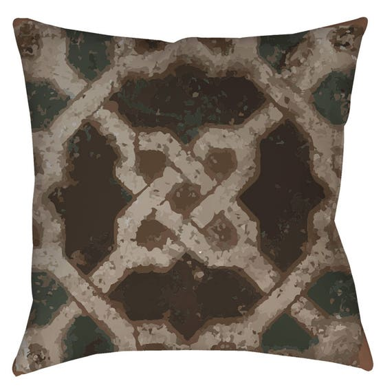 Andalusian Symmetry 2 - Decorative Pillow For Home Decor With Medieval Geometric Arabesque Pattern