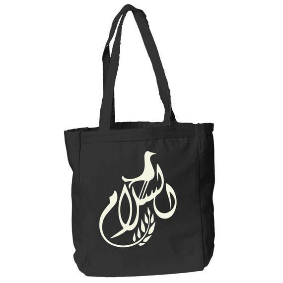 Peace Arabic Calligraphy Design 12 oz Canvas Book Tote Bag By The Arabesque