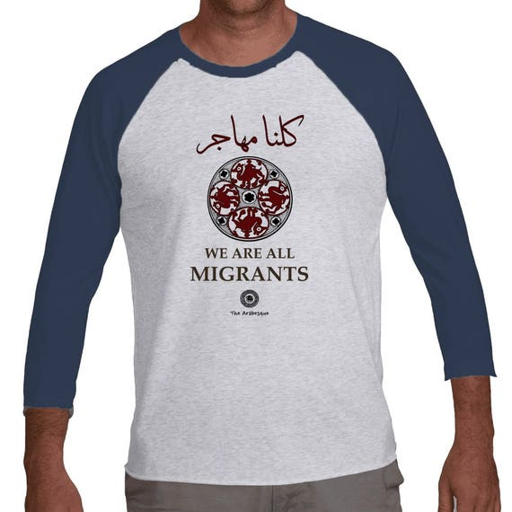 We Are All Migrants Triblend 3/4 Premium Cotton Raglan Medieval Camel Shirt By The Arabesque