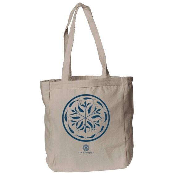 Kauai - Medieval Fish Arabesque Design 12 oz Canvas Book Tote Bag By The Arabesque