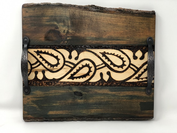 The Arabesque Handcrafted Decorative Unique Woodburned Basswood Tray With Medieval Mamluk Arabesque Pattern - Antique Moss Finish