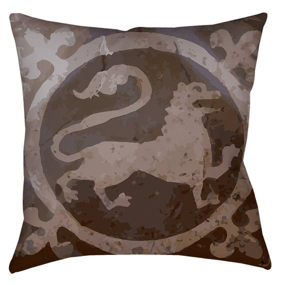 Medieval Lion Art Home Decor Pillow Inspired From The 14th Etsy