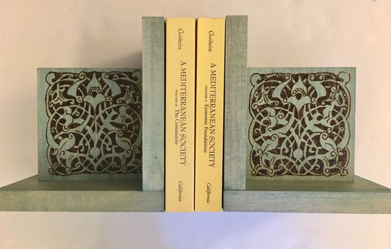 Bookends (6 x 8 in) With A Woodburned Medieval Mamluk Arabesque Design; Medieval Islamic Art; Egypt; Cairo; Historian Gift; History Teacher