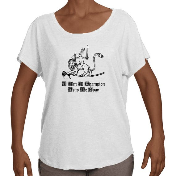 Women's Medieval Champion Bunny Knight and Lion Steed Dolman Shirt By The Arabesque