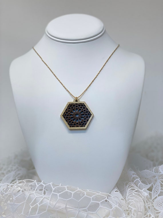 The Arabesque® Medieval Geometric Pattern Wooden Pendant on Walnut with 14k Goldplated Necklace