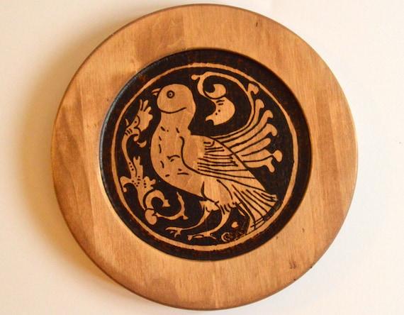 Collector's plate; Wooden Home Accent; Wood plate; Wedding decor; placemat; medieval art; Islamic art; Seljuk art; birds; woodburning;