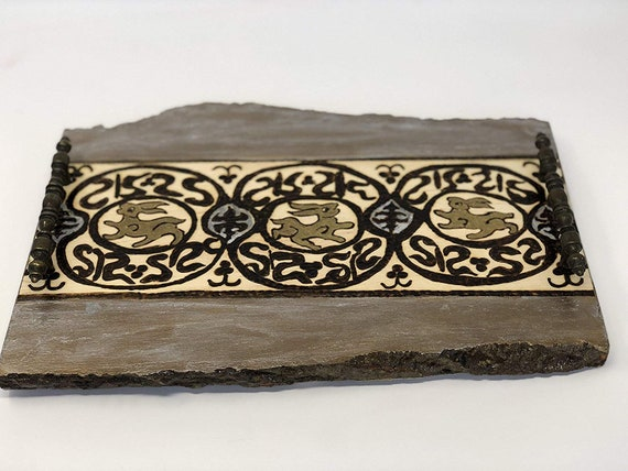 The Arabesque® Handmade and Handcrafted Wooden Decorative Coffee Table Tray With Medieval Historical Woodburned Fatimid Hare Design