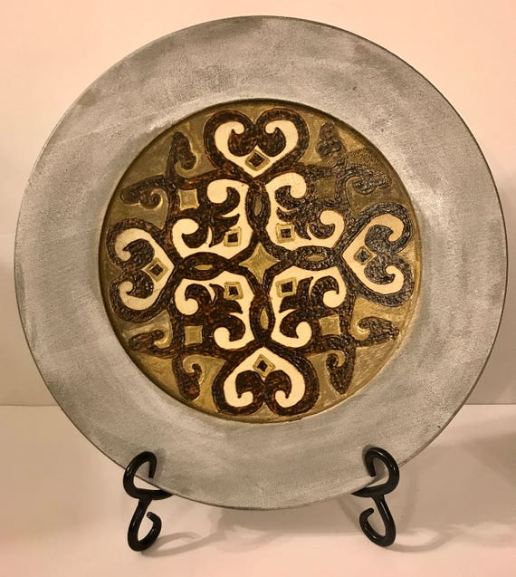 Medieval Arabesque Art Inspired Decorative Wood Plate With Antique Silver and Gold Finish And Woodburned Design