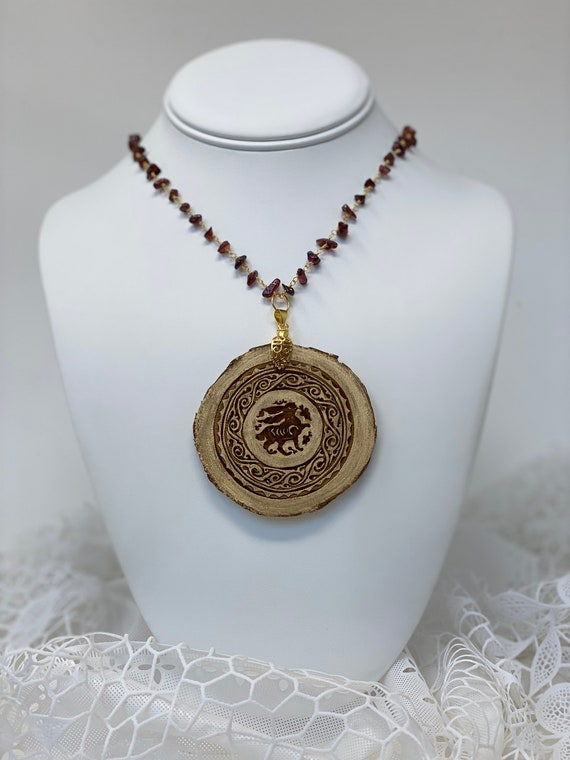 """The Arabesque® Wooden Engraved Medieval Fatimid Bunny Arabesque Pendant with Garnet Nugget Bead 24k Gold Plated 24"""" Rosary Necklace"""