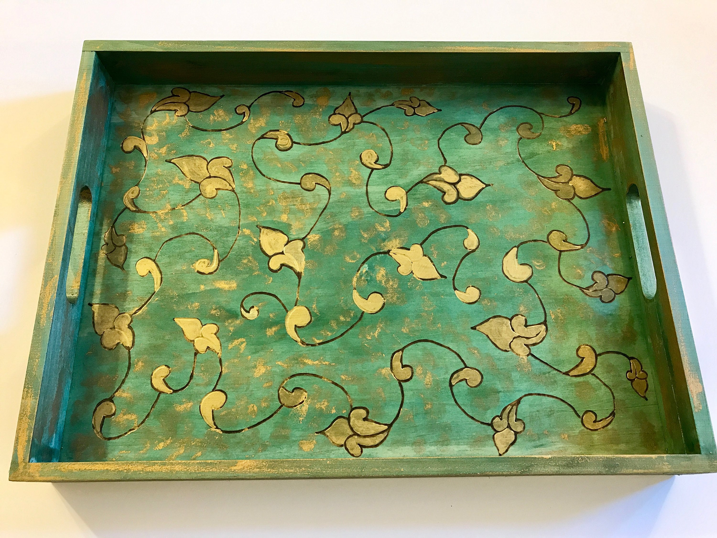 A Midsummer Night's Dream Handmade and Handcrafted Wooden Decorative Coffee  Table Tray - Ottoman Tray - Vanity Tray - Elegant Home Decor