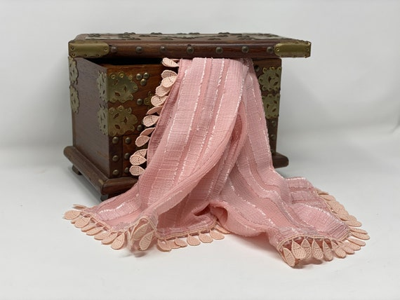 The Arabesque® Pink Handmade Silky Sheer Crepe Fabric Striped Scarf With Beautiful Teardrop Lace Trim. Elegant Day or Evening Wear Accessory