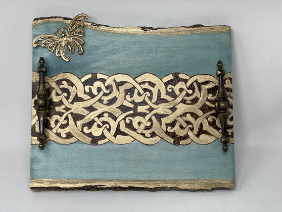 The Arabesque® Medieval Mamluk Arabesque Patterned Wooden Decor Tray with Antique Vintage Upcycled Brass Handles and Butterfly