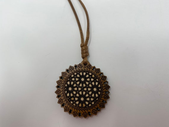 """The Arabesque® Wooden Engraved Pendant with Adjustable 18"""" Leather Cord Necklace with Engraved Medieval Geometric Pattern Arabesque Artwork"""