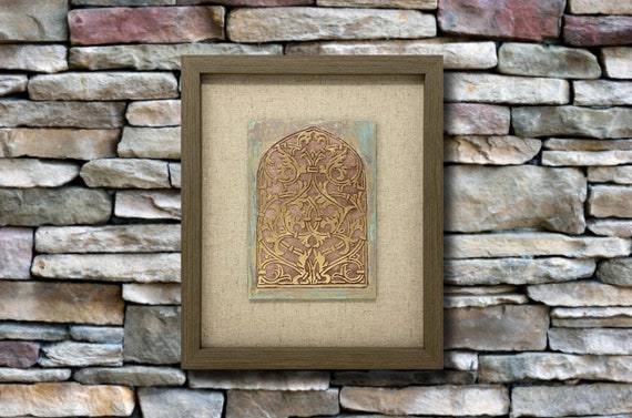 """The Arabesque® 8"""" x 10"""" Framed Wooden Wallhanging with Medieval Mamluk Arabesque Etched Window Design"""