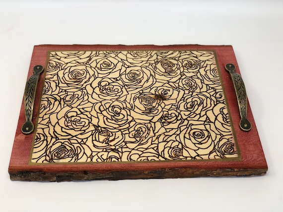 The Arabesque - Exquisite Handmade and Handcrafted Woodburned Rustic Rose Patterned Tray For Coffee Table or Ottoman - Home or Office Decor