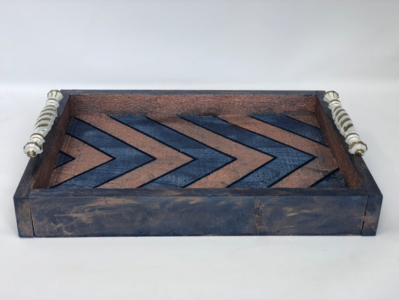 """The Arabesque® Large 12"""" x 16"""" x 2"""" Decorative Rustic Coffee Table or Ottoman Tray With Metallic Finish. Simple High Style Home Decor"""