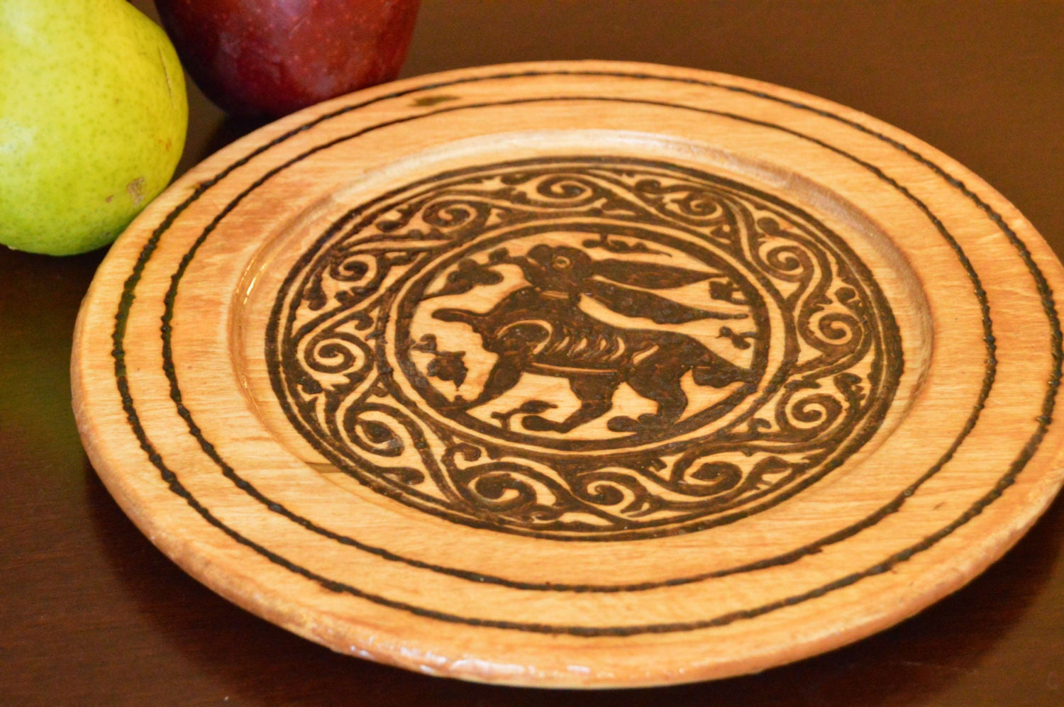 Wooden plates; decorative plates; placemat; wedding placemat; bunnies; rabbits; hares; medieval Islamic art; Fatimid art; woodburning; & Wooden plates; decorative plates; placemat; wedding placemat ...