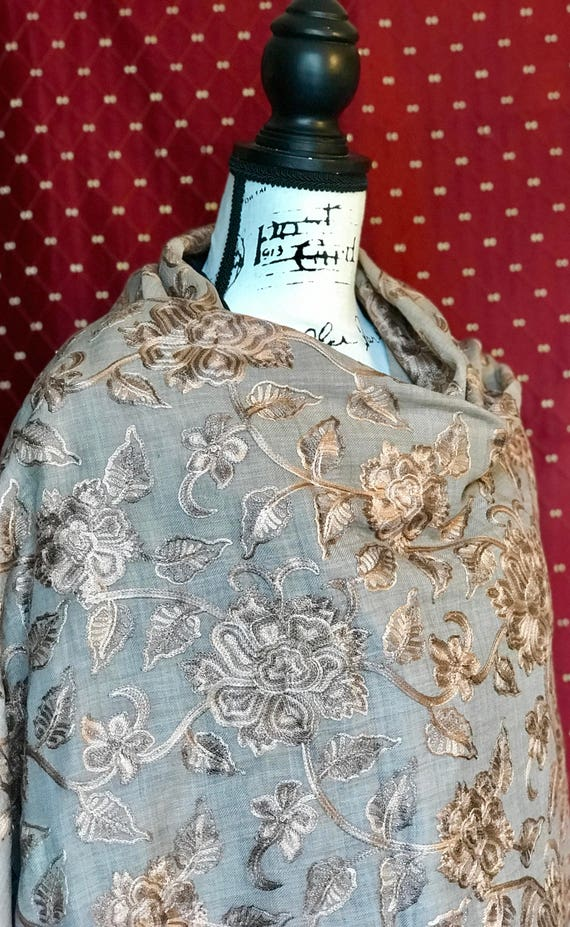 Exquisite Brown Wool Blend Stole With Beautiful Hand-Embroidered Golden Floral Pattern. 90L x 45W inches.