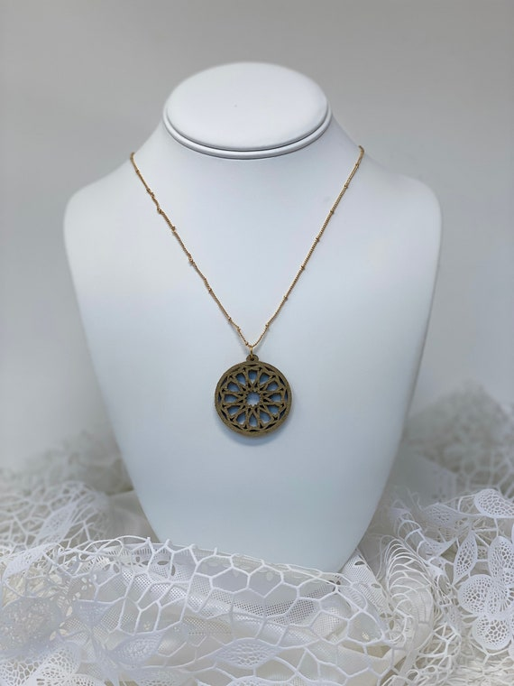 The Arabesque® Medieval Geometric Pattern Wooden Pendant with 14k Goldplated Necklace