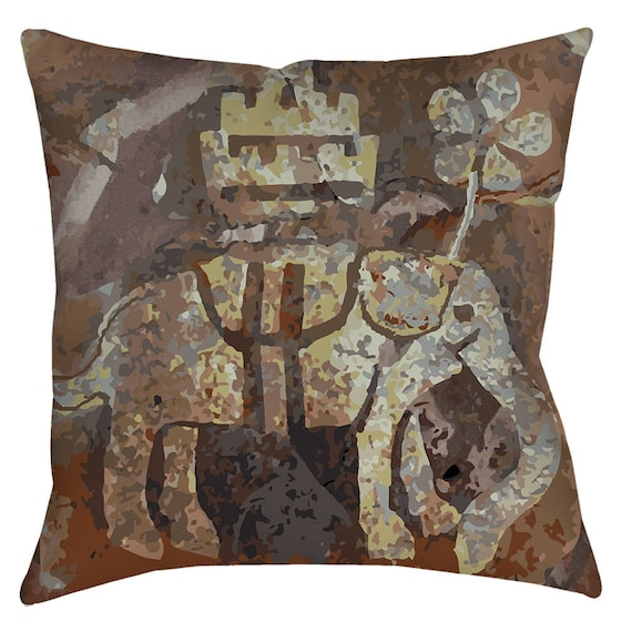 Medieval Elephant Print Pillow Inspired From The 14th Century Floor Tiles Of Glastonbury Abbey